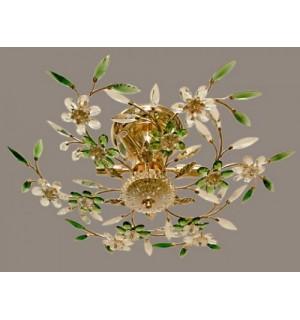 Светильник КАСКАД роз.золото, цветы зел.-бел. 167014  (49794)