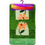 Набор Ковриков для ванной 50*80 см 02294-flower зеленый