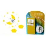 Часы наклейка Желтые тучки EVA CLK-1005