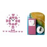 Часы наклейка Розовые сердечки EVA CLK-1007