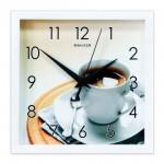 Часы настенные 23,5*23,5см пластик Кофе