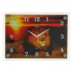 Часы настенные 29,5*30см пластик Лев