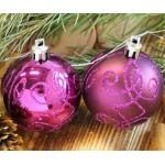 Набор игрушек шар 8шт. узорный фиолет