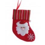 Носок для подарков 13*8см блеск дед морозик