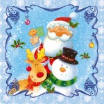 Салфетки бумажные 33*33 3сл (20шт) Дед Мороз и Снеговик