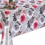 Клеенка Декорама  129D тк /1,4м*20м/ розы на сером фоне