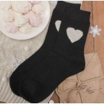 Носки женские теплые Collorista Сердце  черный р23-25
