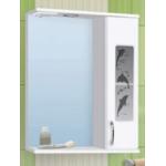 Зеркало-шкаф Дельфин  80см правое 2 двери Белое