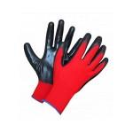 Перчатки нейлоновые красные облив черным Супер Люкс